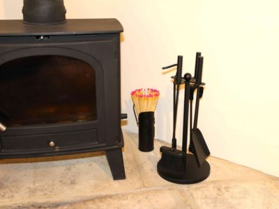 Wood burner for cooler evenings, logs provided