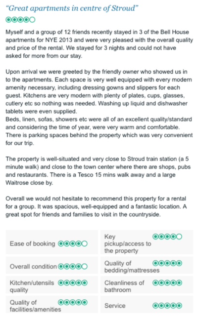 Trip Advisor Review - Rated Excellent